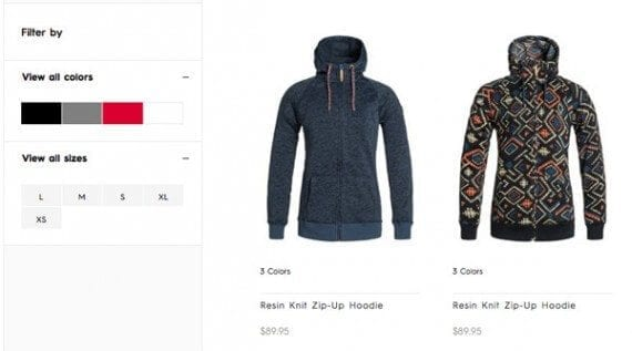 Search filters allow shoppers to refine search queries and show merchants which product attributes are most important.