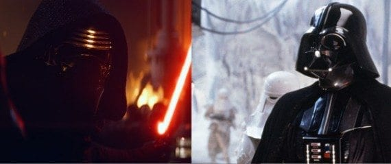 As an example of a plot similarity, Kylo Ren is a lot like Darth Vader.