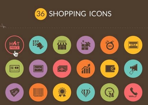 36 Shopping Icons-buattokoonlineid