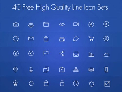 40 Free High Quality Line Icon Set PSD.