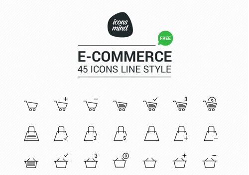 18 free ecommerce icon sets for navigation and design practical free 45 e commerce icons altavistaventures Images