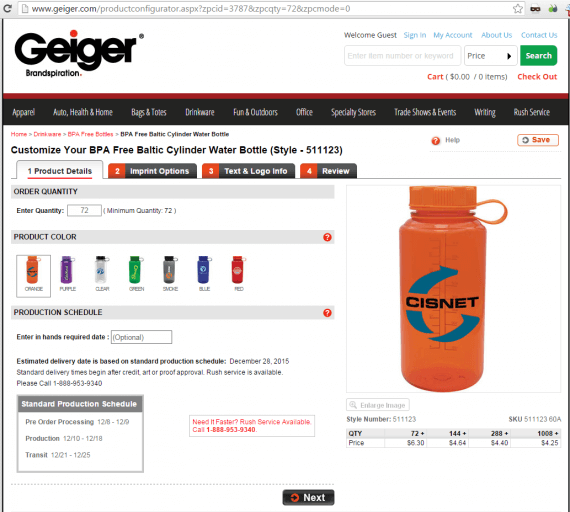 Geiger, which sells promotional items, provides product configurators that enable the ordering of customized products online.