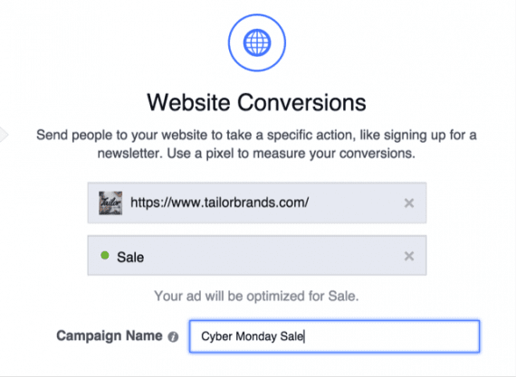 """Optimize your ad for """"Sale"""" pixel as the goal."""