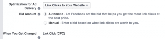 "For the bid amount, change the optimization from ""website conversions"" to ""link clicks."""