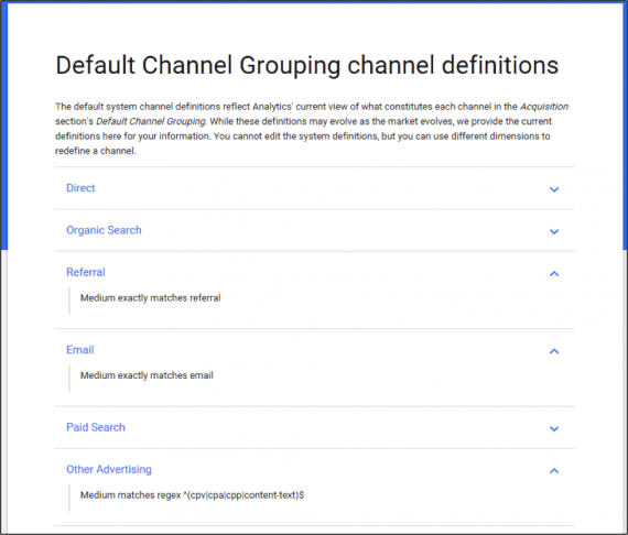 Google Analytics groups sources of traffic into default channel groupings. The names of these groups cannot be edited and Google defines how the text — upper and lower case — should be used.