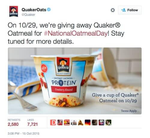 Quaker Oats #NationalOatmealDay on Twitter.