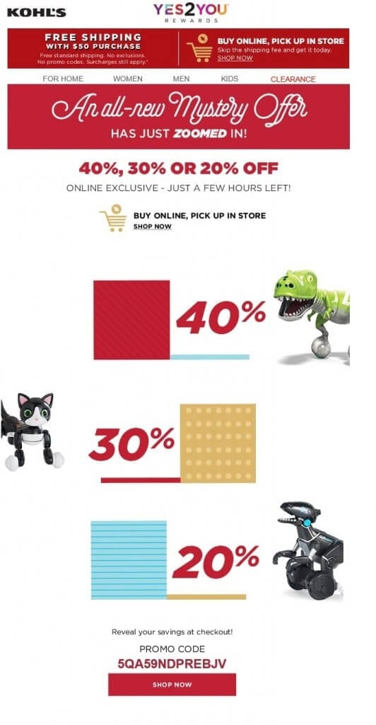 In this email from Kohl's, the recipient must complete the cart process before she knows if her discount percentage is 40, 30, or 20.