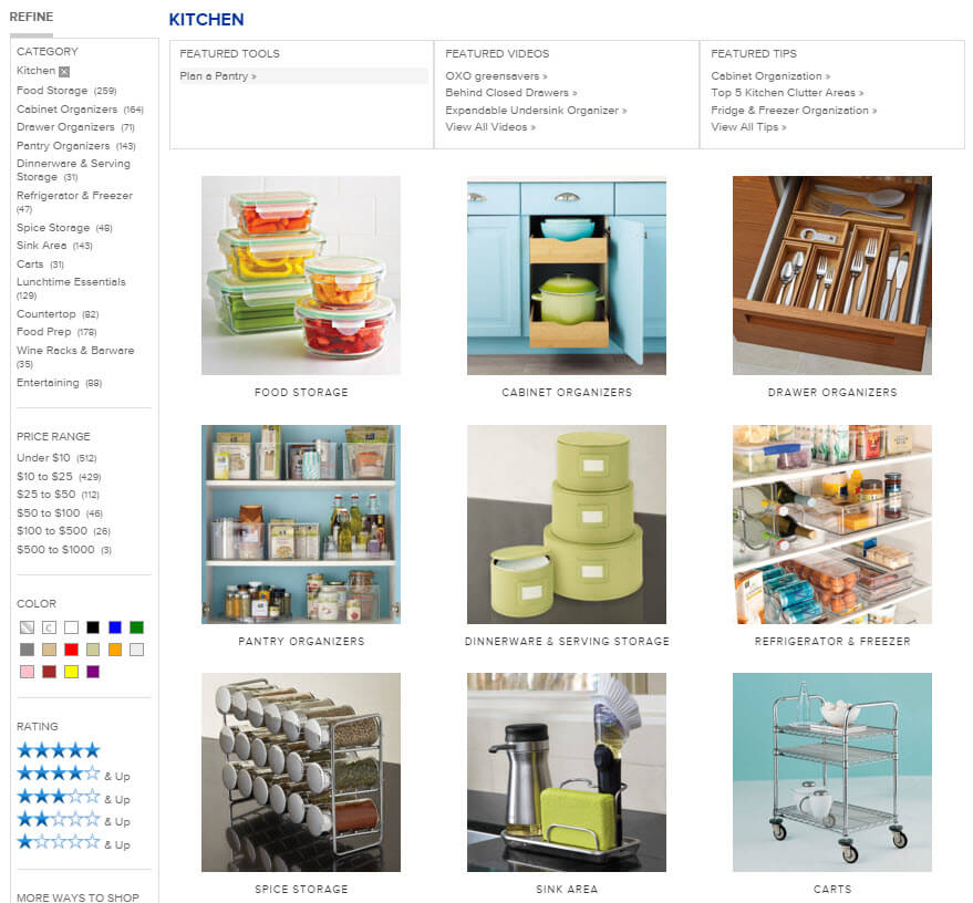 The Container Store organization section.