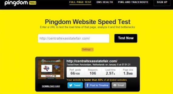 Pingdom's speed test will show you page load times and the page's size.
