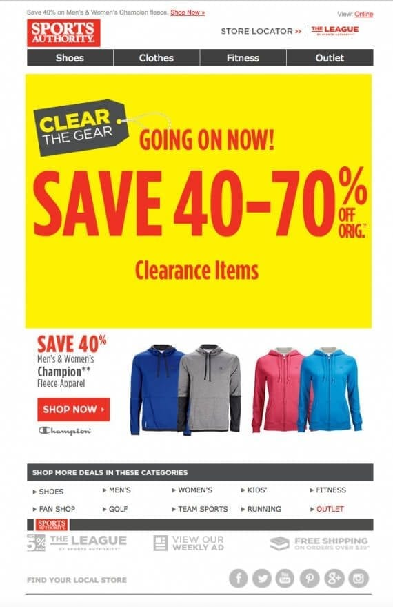 The Sports Authority is closing out fleece in January. Although it is still cold enough in much of the United States to wear fleece, the company probably doesn't want to carry these over to next winter.