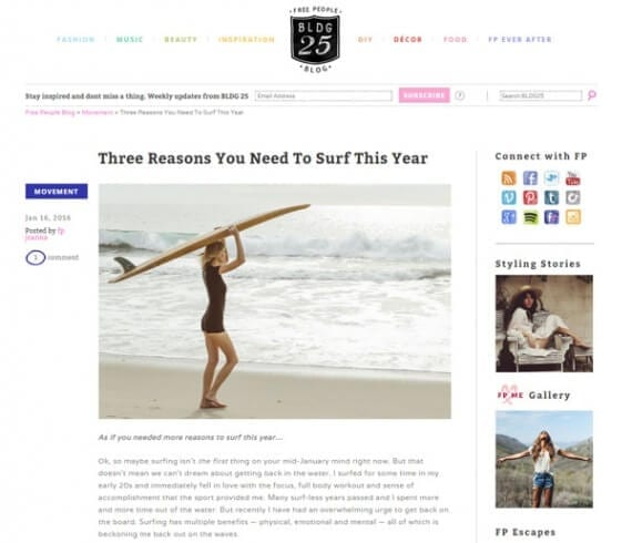 The Free People blog uses great photography to connect its content marketing to the store's products.