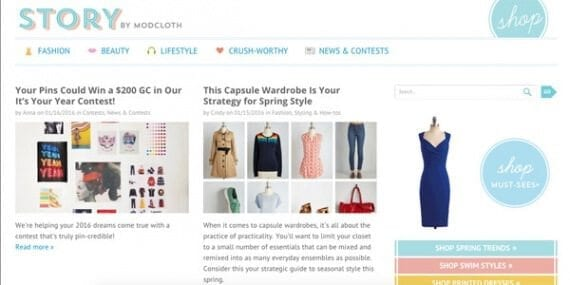 Content marketers can look to the Story by ModCloth blog as an example of consistent content publishing.