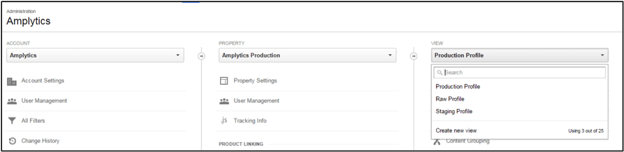 Google Analytics uses an account > property > view hierarchy to organize data.