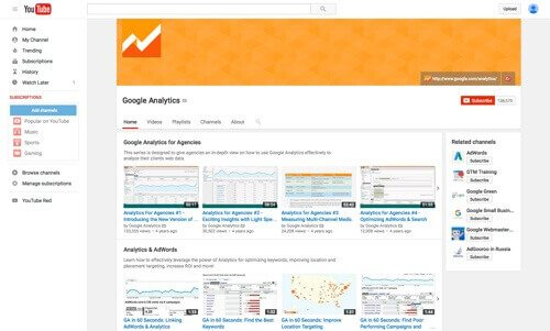 Google Analytics on YouTube.