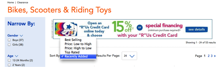 """Toys""""R""""Us has the """"Top Rated"""" filter for sorting its clearance products. But it does not have """"Discount Percentage"""" filter, which would have been a good addition."""