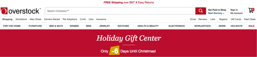 "Overstock.com displayed this Christmas banner six days after Christmas. The text, in yellow, says ""-6 days"" (negative six days) until Christmas."