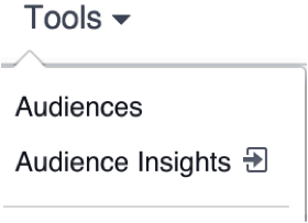 "Click ""Tools"" in the Facebook ad manager, then ""Audiences."""