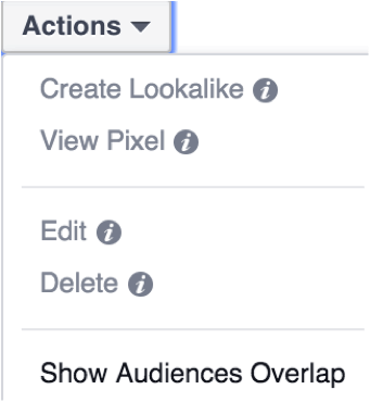 "Select two audiences, click ""Actions,"" then ""Show Audiences Overlap."""