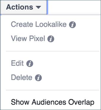 "Select two audiences, click ""Actions,"" then ""Show Audiences Overlap."""