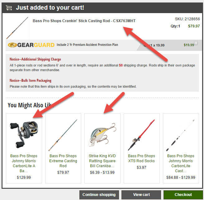 Bass Pro Shop's cart displays relevant products in relation to what is being purchased.