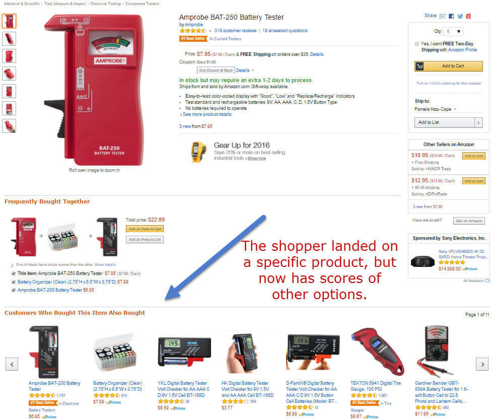 Amazon product page with lots of other options.