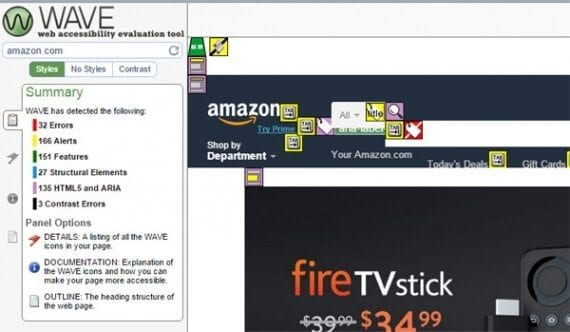 WAVE faulted several occurrences on Amazon of spinner GIFs meant to indicate some portion of the page was loading.