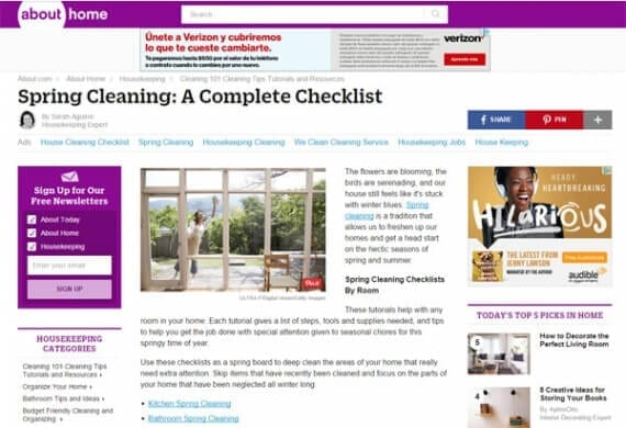 About's Spring Cleaning Checklist is an example of the sort of articles content marketers could publish in honor of spring.