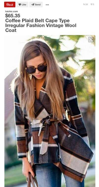 Coffee Plaid Belt Cape.