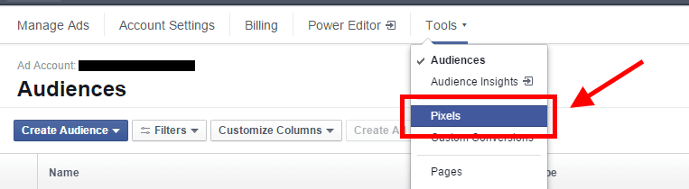 "Obtain a Facebook pixel for your site by clicking on the ""Tools"" menu of your Facebook ads account and clicking on Pixels."