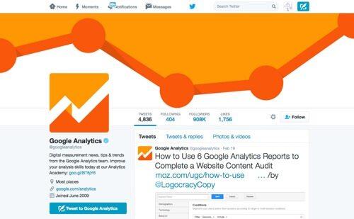 Google Analytics on Twitter.