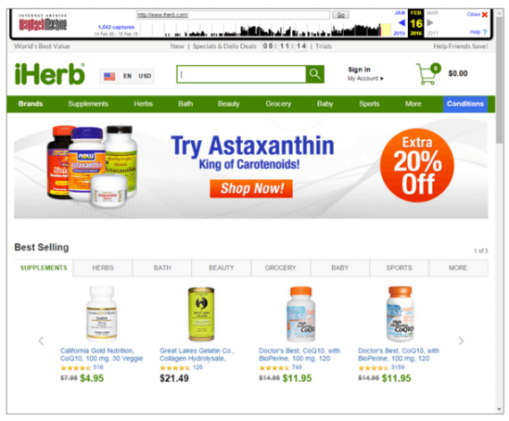 "iHerb.com's February 2016 home page has a ""Best Selling"" section in the middle, as well as category names in the green bar that are different from February 2015."