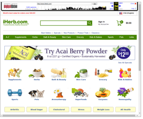 "iHerb.com's home page in February 2015 did not include the ""Best Selling"" tab in the middle of the page, among other differences from the current site."