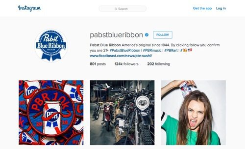 Pabst Blue Ribbon on Instagram.