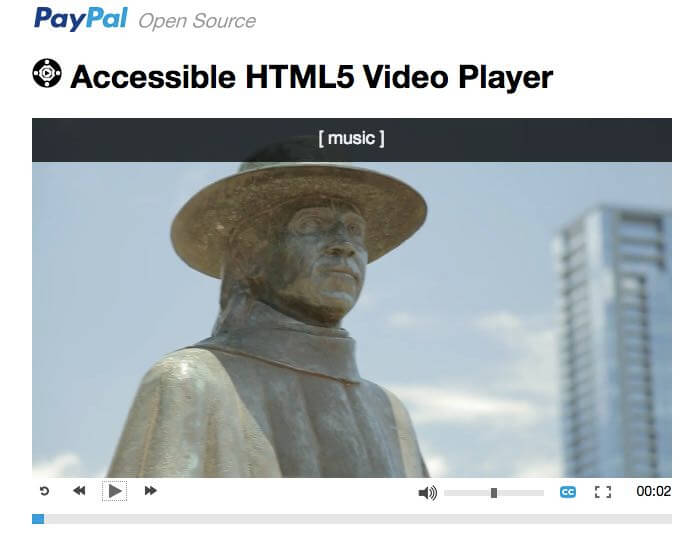 Making videos accessible for blind and disabled users involves three components: the visual content, the audio content, and the player itself. PayPal offers an accessible HTML5 video player, as does YouTube and several others.
