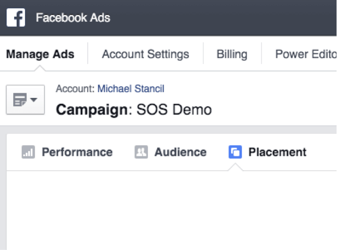 "To view a placement report, go to the campaign you want to view while at Ads.facebook.com, and click ""Placement."""