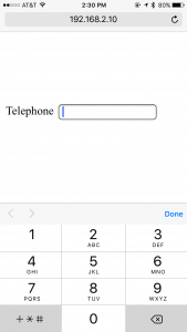 "The ""telephone"" input field in HTML5 defaults to numbers on a mobile browser."
