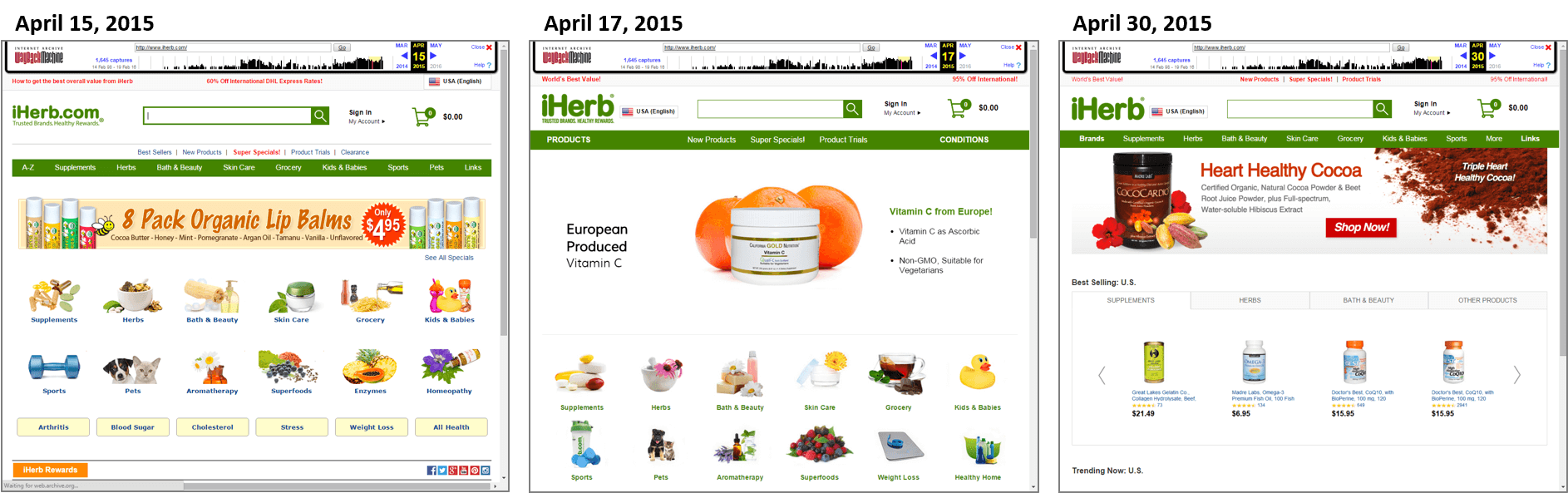 iherb.com homepage changes in April 2015