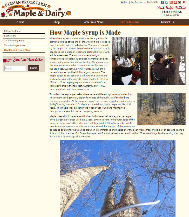 Carman Brook Farm sells maple syrup and dairy items from its website. On this page, it explains how maple syrup is made.