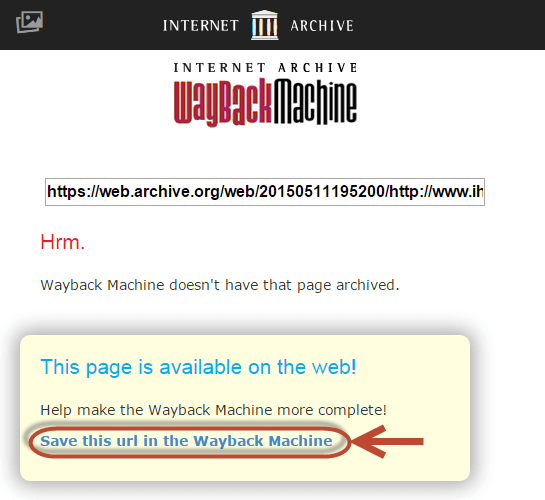 The Wayback Machine's save this page link