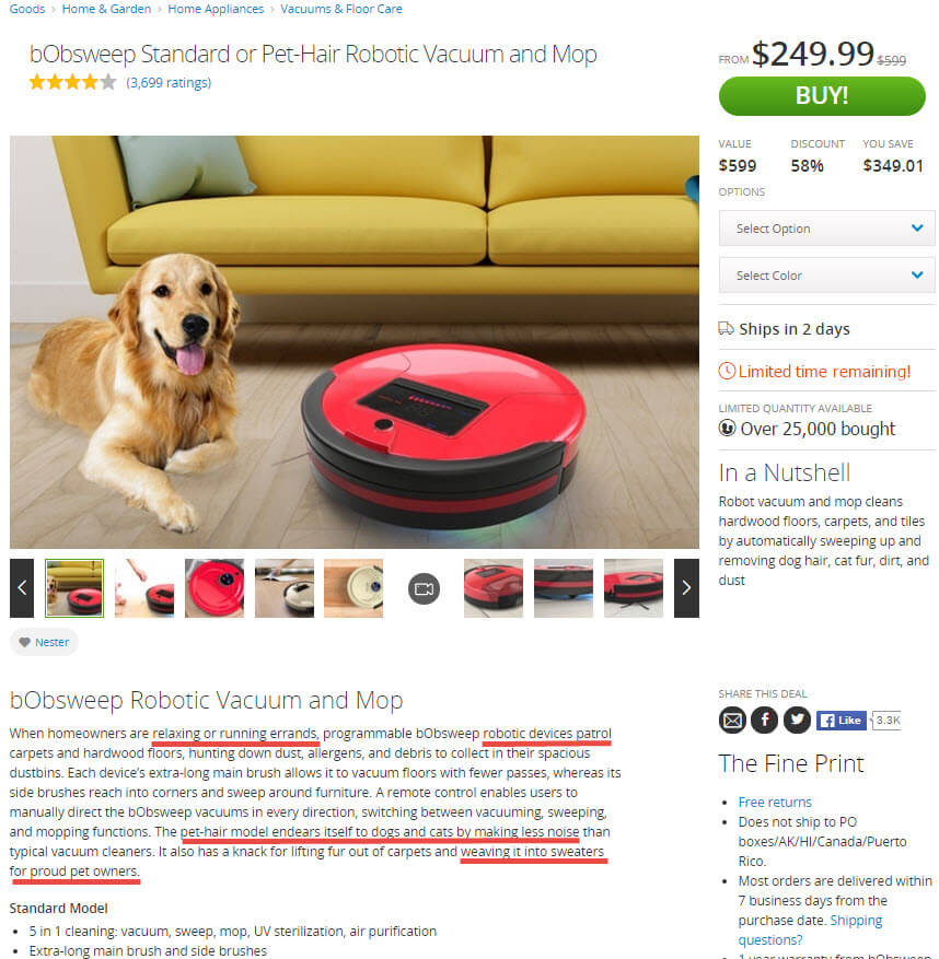 Groupon Goods' product descriptions often include compelling trigger words and a bit of humor.