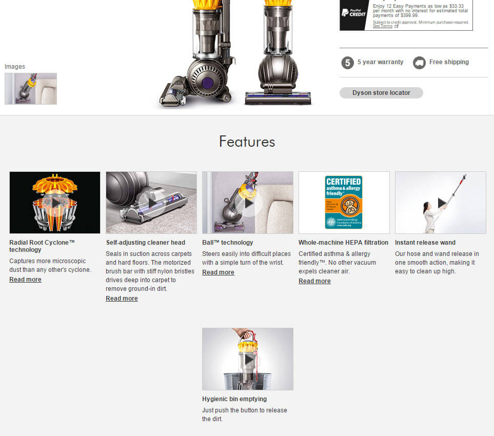 Product page with six thumbnails and brief descriptions beneath each topic.