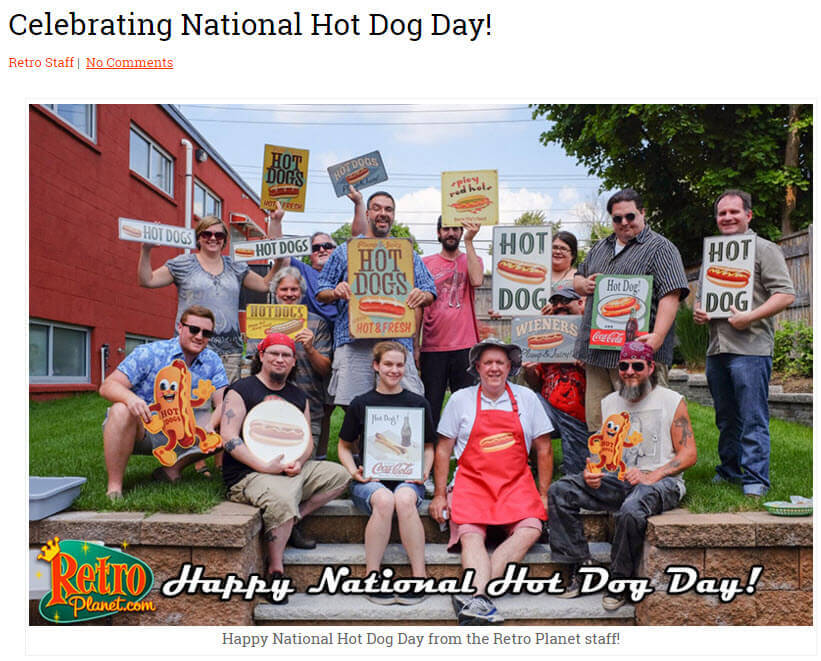 To celebrate National Hot Dog Day, RetroPlanet.com hosted a cookout for the staff, and shared lots of pictures.