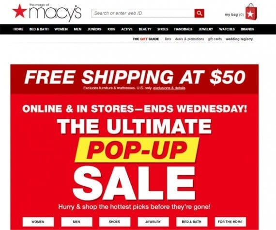 Macy's merchandises closeout items right at the top of its home page.