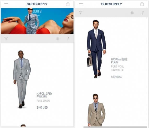 Suit Supply is a example of an online retailer using continuous scrolling on its product category pages. The experience is significantly better for mobile shoppers.