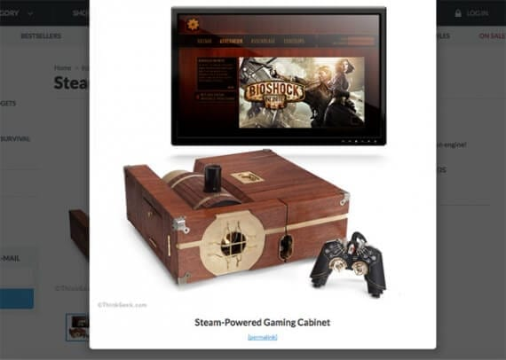 ThinkGeek released a fake, steam-powered game console for April Fool's Day 2015.