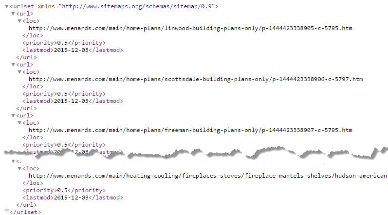 One of the XML sitemaps for Menards, a midwestern U.S. home improvement brick-and-click retailer.