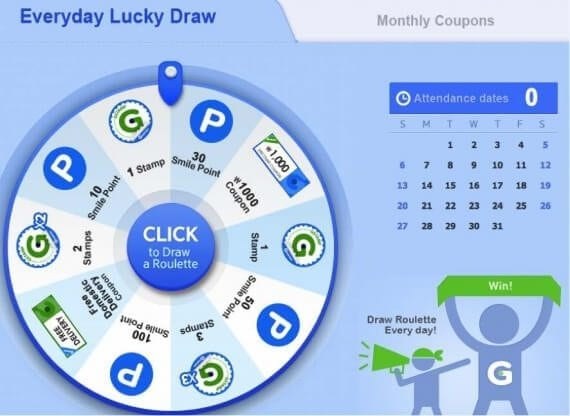 Gmarket's daily drawing lets customers win more Gstamps and Smile Points.