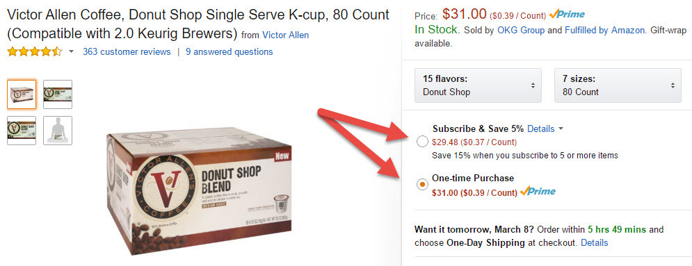 Amazon product page offering a discount if you put in a standing order.