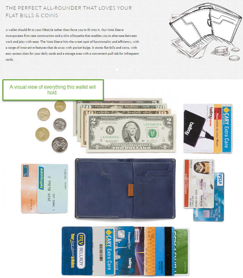 Bellroy wallet illustration and content capability