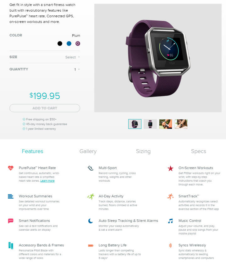 Fitbit Blaze product page
